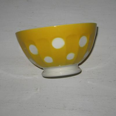 Ancien bol à côtes sur pied douche décor jaune à pois blancs