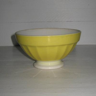 Ancien bol à côtes sur pied douche couleur jaune foncé Digoin Sarreguemines France