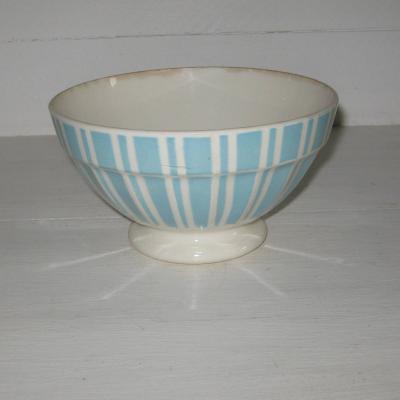 Ancien bol sur pied douche Digoin France 9611 bleu et blanc
