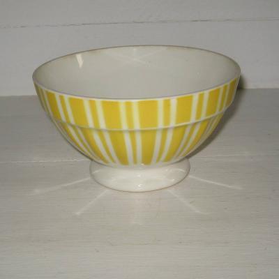 Ancien bol sur pied douche Digoin France 9611 jaune et blanc