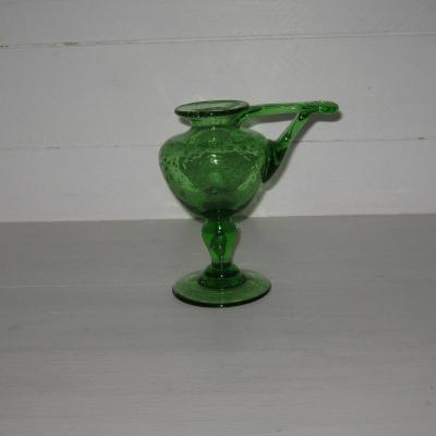 Bougeoir en verre bullé vert Biot (1)