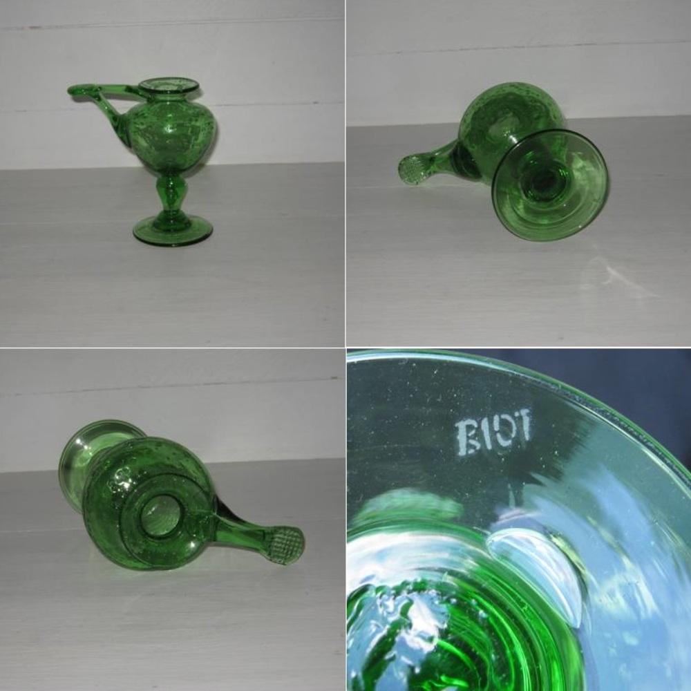 Bougeoir verre vert biot 1b