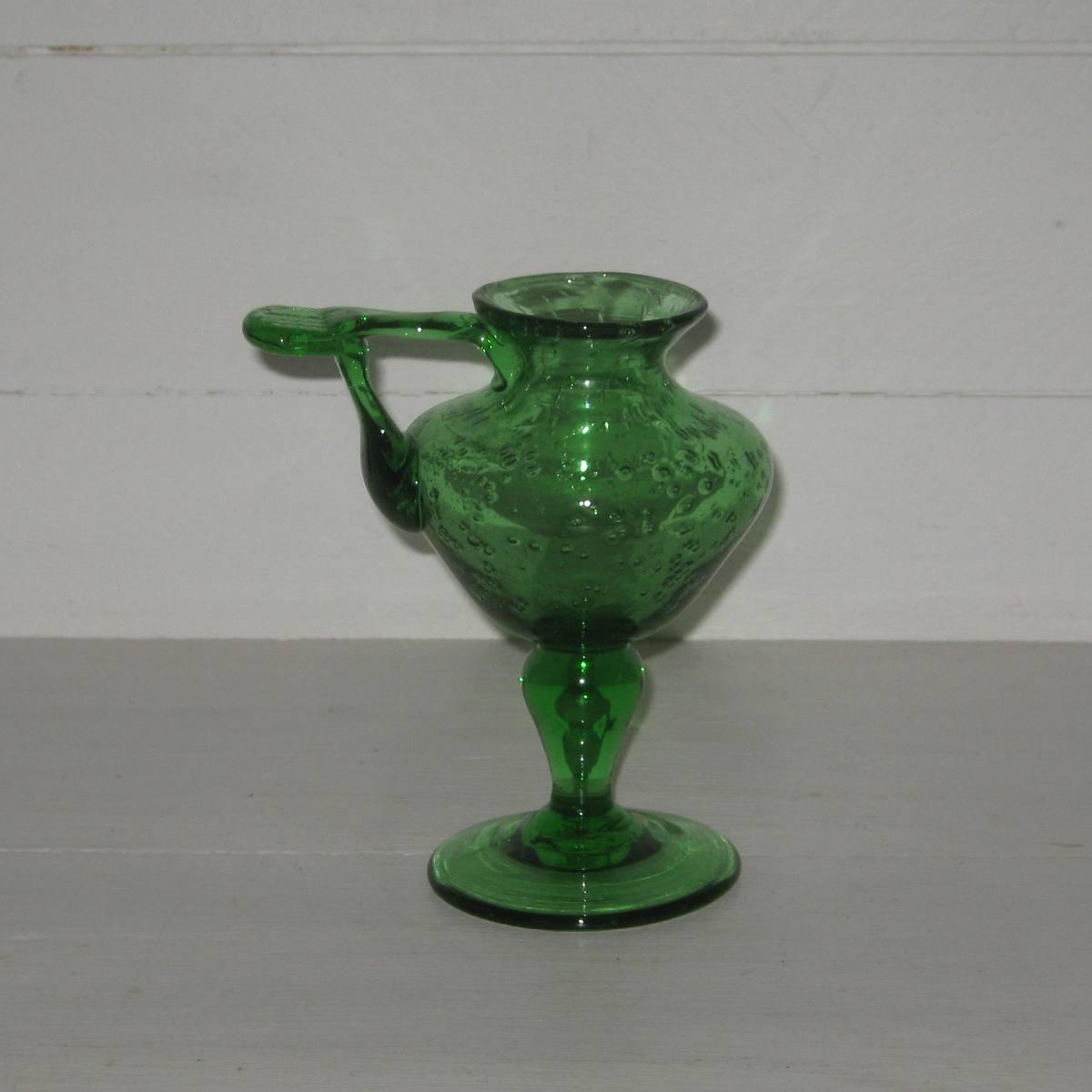 Bougeoir verre vert biot 2a