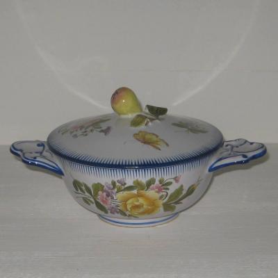 Ancien bouillon décor fleurs et insectes Molin faïencerie Charolles (b)