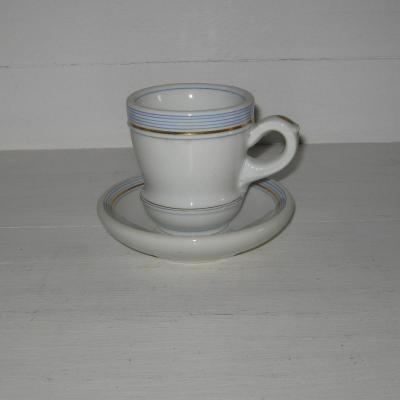Ancien brûlot et sa soucoupe en porcelaine épaisse rayures bleues et dorure (2)