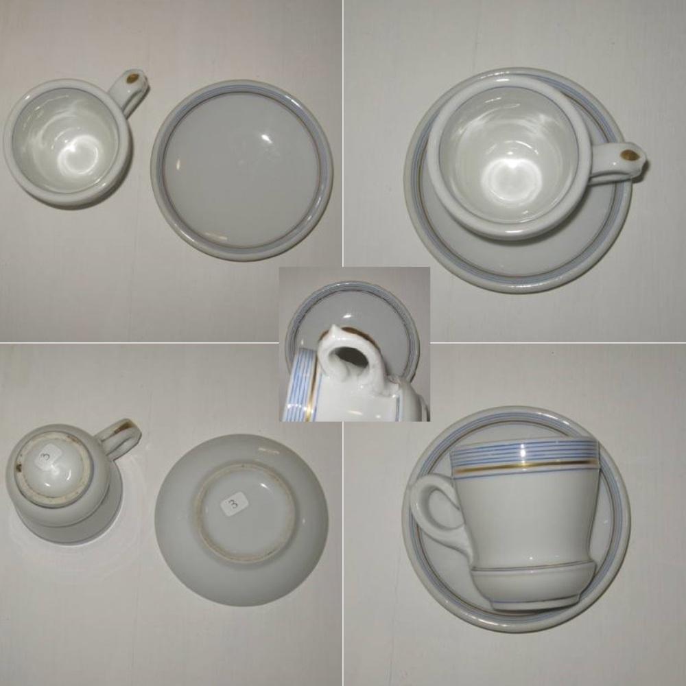Brulot et sa soucoupe porcelaine epaisse rayures bleues et dorure 3 b