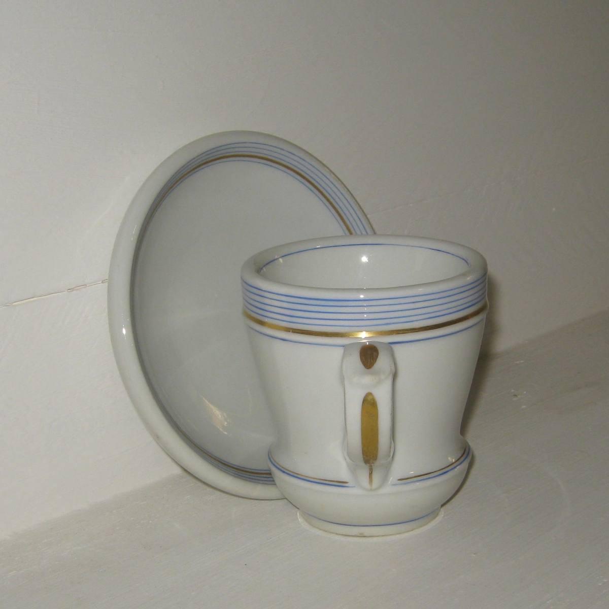 Brulot et sa soucoupe porcelaine epaisse rayures bleues et dorure 3 c