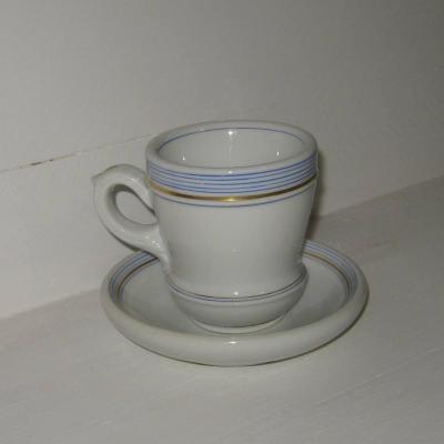 Brulot et sa soucoupe porcelaine epaisse rayures bleues et dorure 3