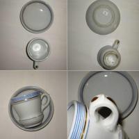 Brulot et sa soucoupe porcelaine epaisse rayures bleues et dorure 4 b