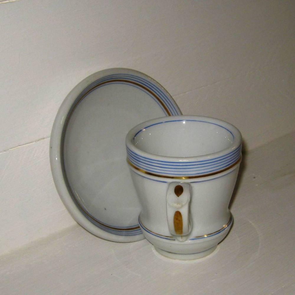 Brulot et sa soucoupe porcelaine epaisse rayures bleues et dorure 4 c