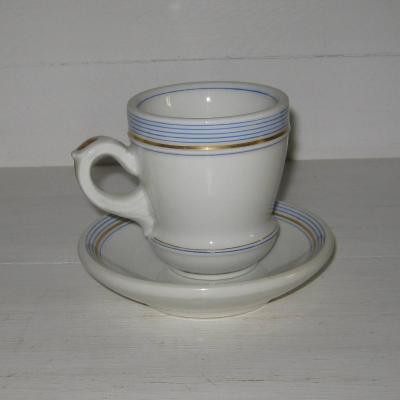 Ancien brûlot et sa soucoupe en porcelaine épaisse rayures bleues et dorure (1)