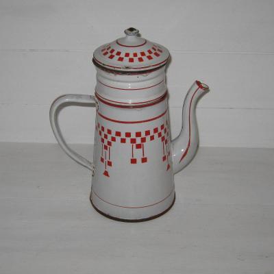 Ancienne cafetière émaillée complète décor damier Lustucru