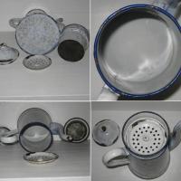 Cafetiere emaillee marbre blanc et bleu 3