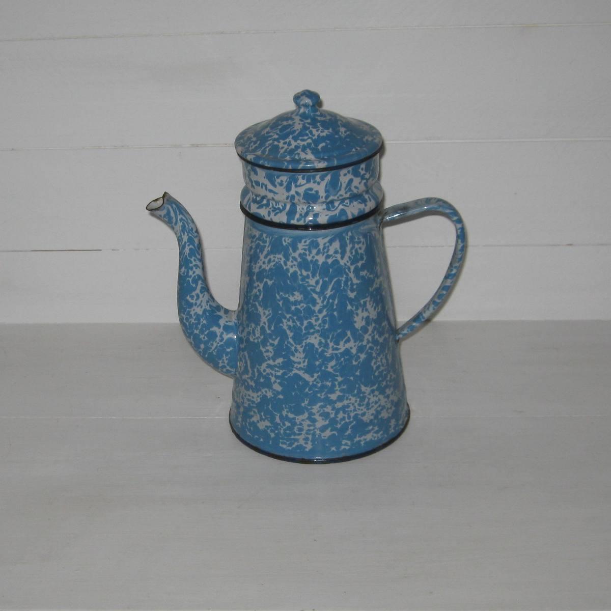 Cafetiere marbree bleue et blanche 1