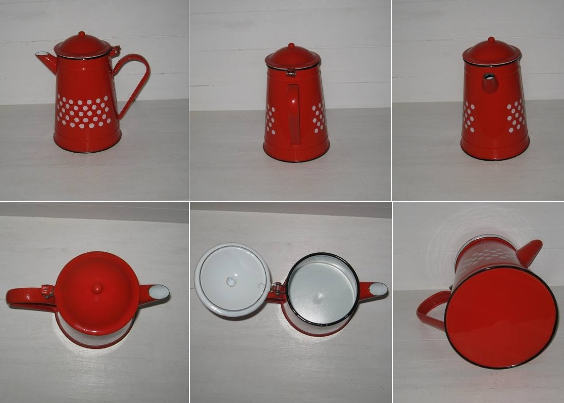 Cafetiere rouge pois blancs