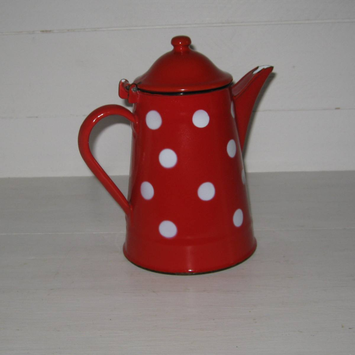 Cafetiere theiere rouge pois blancs 1