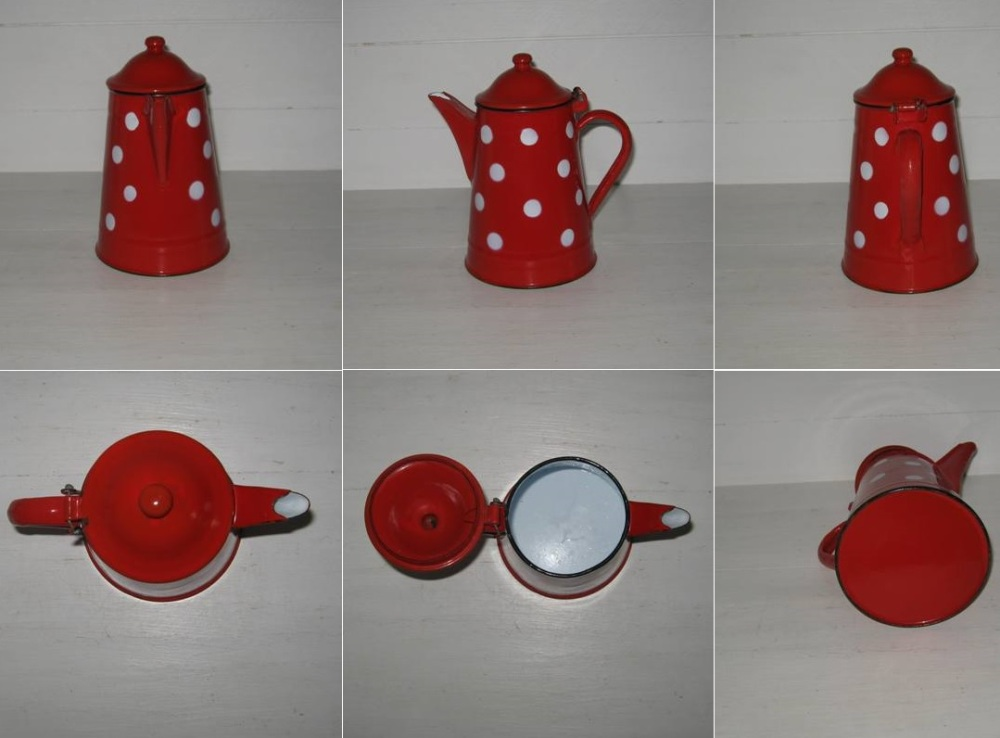 Cafetiere theiere rouge pois blancs 2