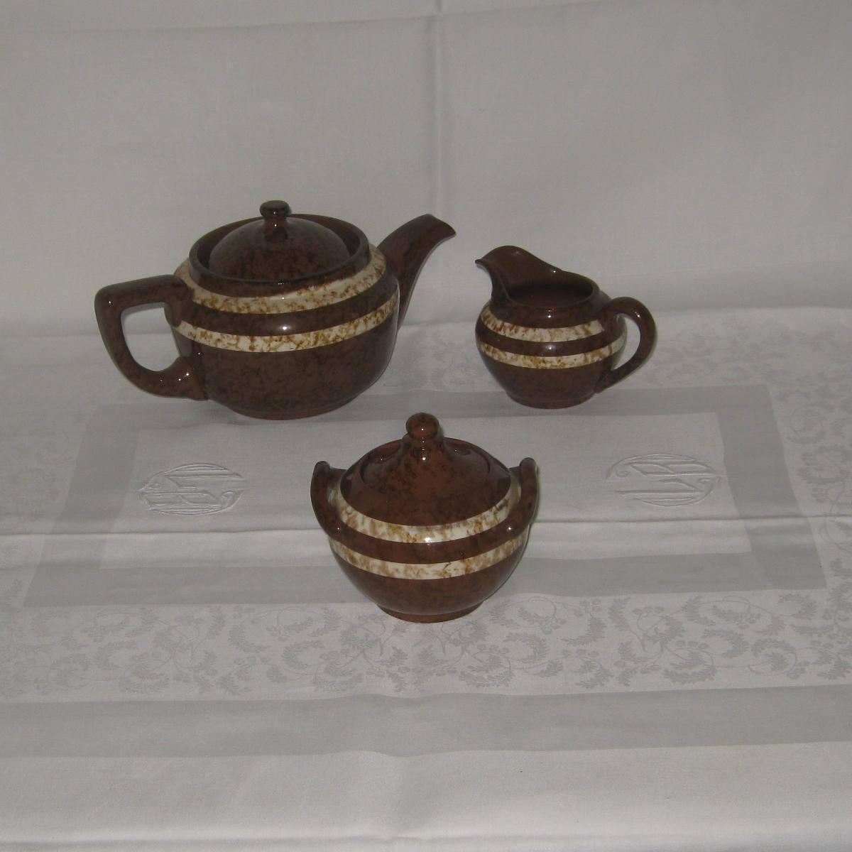 Cafetiere theiere un sucrier et un pot a lait digoin sarreguemines modele mary 1