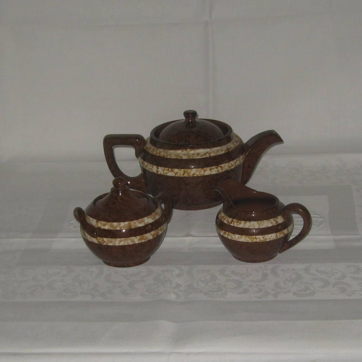 Cafetiere theiere un sucrier et un pot a lait digoin sarreguemines modele mary 2