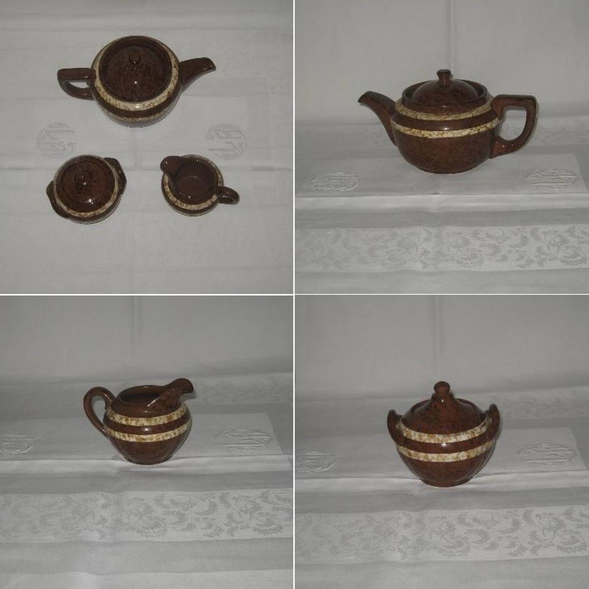 Cafetiere theiere un sucrier et un pot a lait digoin sarreguemines modele mary 3