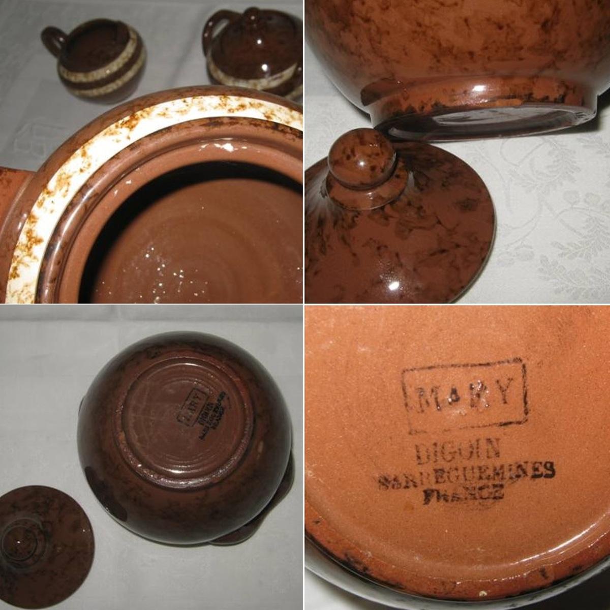 Cafetiere theiere un sucrier et un pot a lait digoin sarreguemines modele mary 4