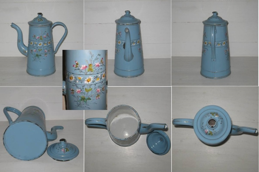 Cafetiere tole emaillee bleue a fleurs champetres 2