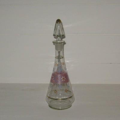 Ancienne carafe à liqueur carafon en verre émaillé