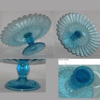 Compotier plat verre bleu 1c