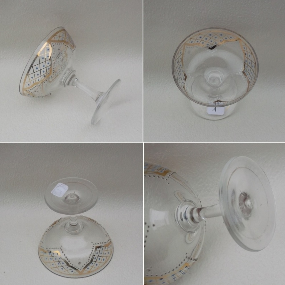 Coupe a champagne cristal emaille b