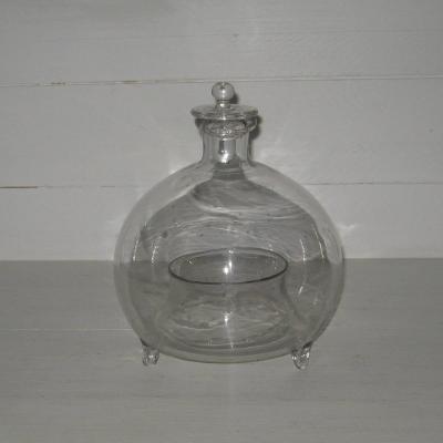 Ancien piège à guêpes gobe-mouches XIXème en verre soufflé complet bouchon d'origine
