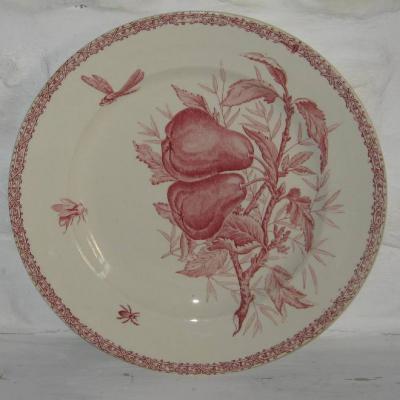 Ancien grand plat décor de fruits et d'insectes Choisy le Roi