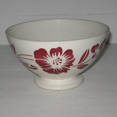 Ancien gros bol de ferme Digoin France à décor de fleurs et frise