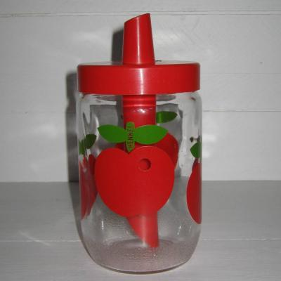 Ancien sucrier doseur vintage Henkel décor pommes rouges
