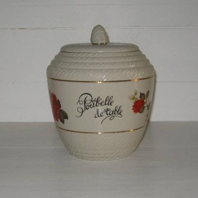 Ancienne poubelle de table en céramique frise de roses, signée Breugnot