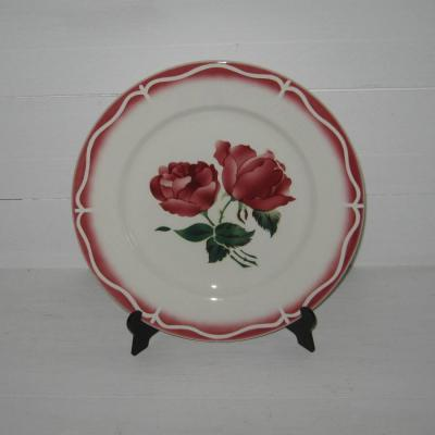 Ancienne assiette plate Digoin Sarreguemines France du service les roses