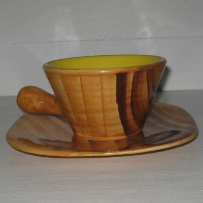 Grande tasse et sa sous-tasse faux bois intérieur jaune Vallauris vintage