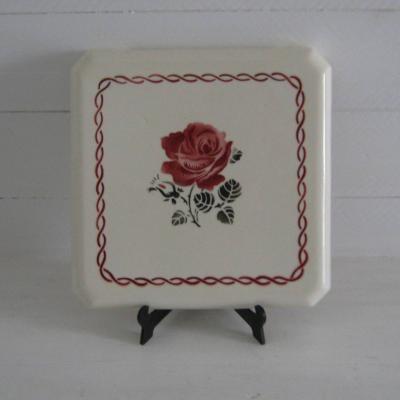 Ancien dessous de plat Badonviller France décor de roses