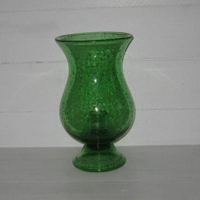 Photophore grand bougeoir de jardin en verre bullé vert Biot
