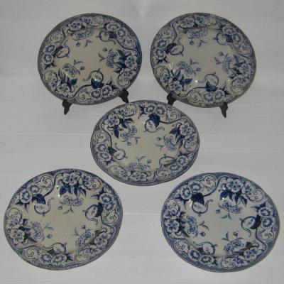 Ancienne assiette creuse en faïence de Creil et Montereau du service Flora décor liseron, lot de 5