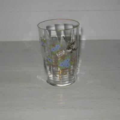 Verre émaillé ou gobelet ancien en verre légèrement facetté fleurs oiseau Bonne Année