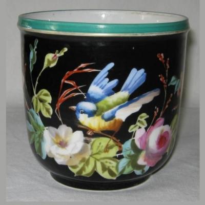Jardinière porcelaine de Paris décor oiseau fleurs