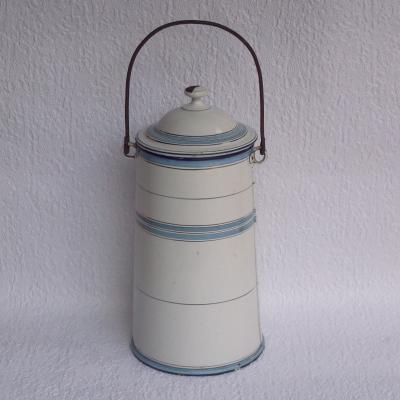 Ancienne laitière pot à lait en tôle émaillée blanche et bleue
