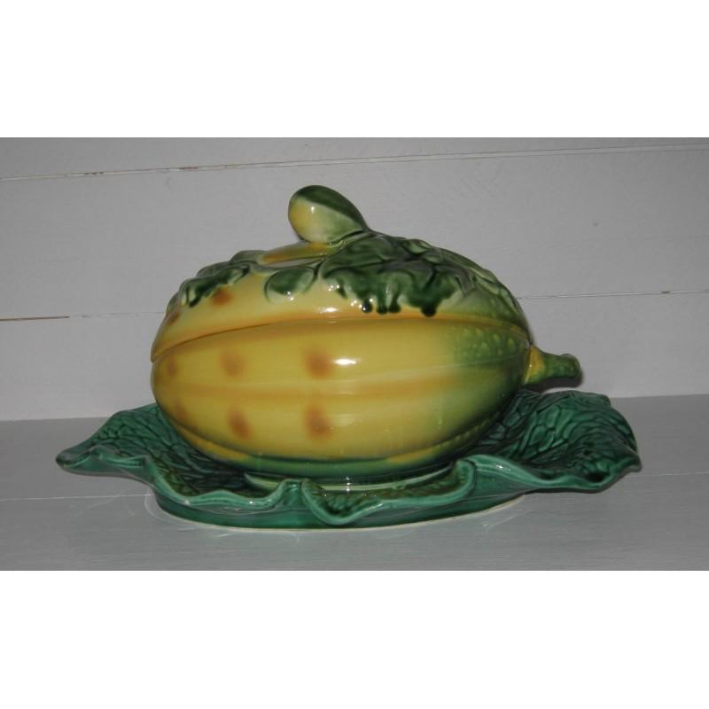 Melon sur sa feuille en barbotine de sarreguemines 3