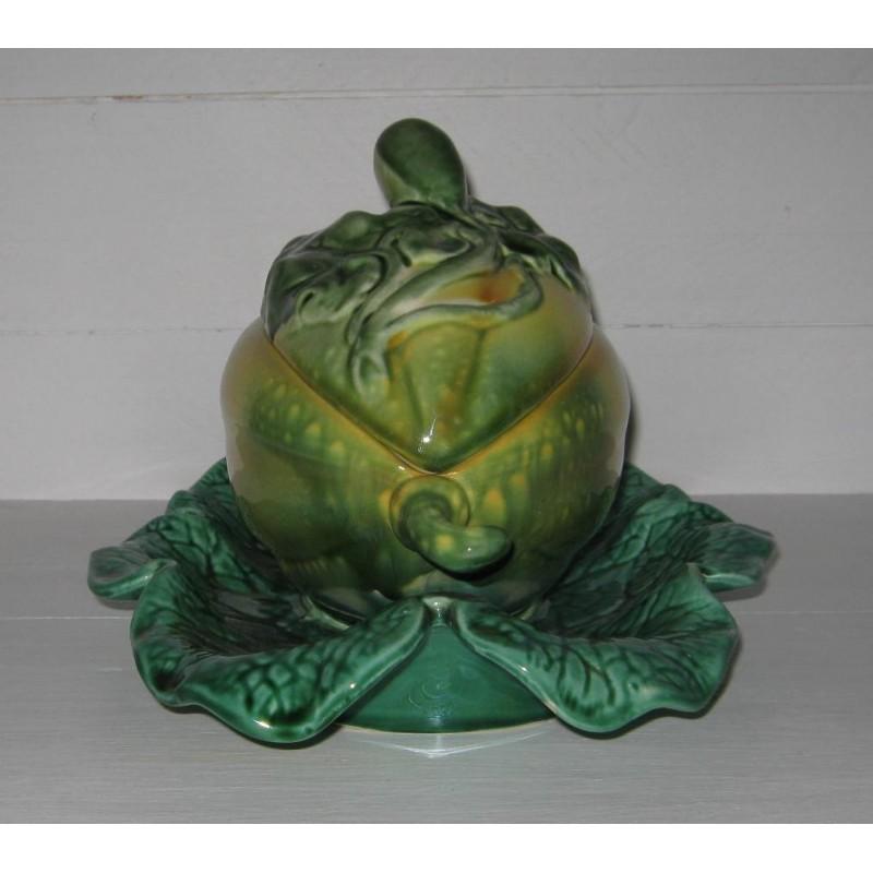 Melon sur sa feuille en barbotine de sarreguemines 4