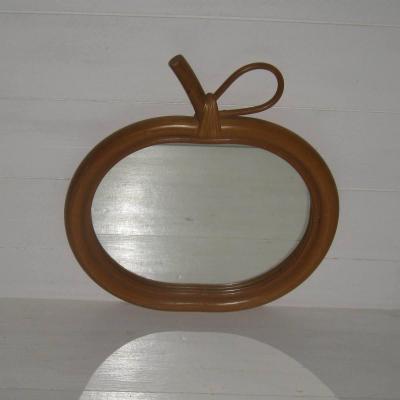 Miroir mural en bois et rotin forme pomme