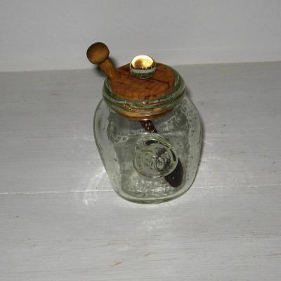 Ancien moutardier en verre bullé de Biot
