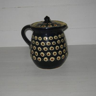 Pichet broc pot couvert ancien en grès de Savoie décor pastilles et points