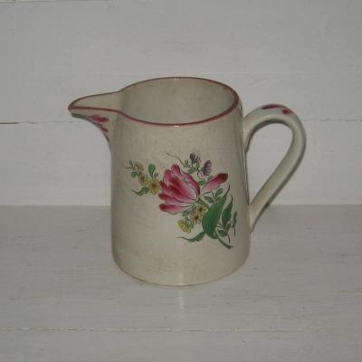 Ancien pot à lait en demi porcelaine KG Lunéville décor fleurs