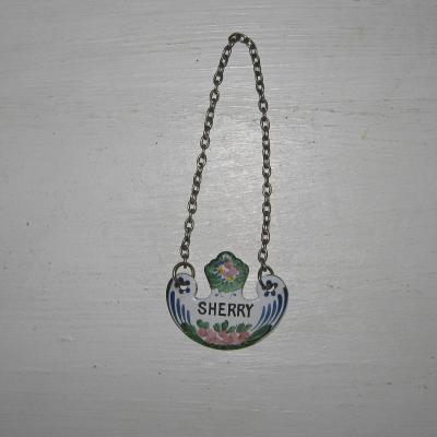 Collier pour bouteille ou carafe plaque émaillée décorée intitulée SHERRY