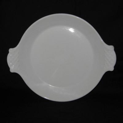 Ancien plat à oreilles en porcelaine à feu blanche